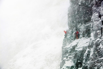 climbers in blizzard on mountain face