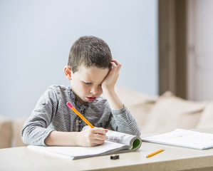 Boy (6-7) doing homework