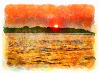 Illustrated image of sunset over the horizon near an exotic island in the ocean