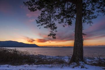 San Juan Islands Snowfall. Fresh snow blankets an island in the Puget Sound area of western Washington State. Lummi Island, Washington.