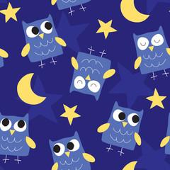 seamless good night owl pattern vector illustration