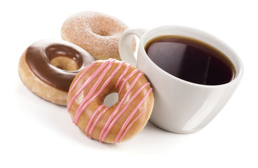 Large Mug of Black Coffee with Three Different Donuts on White Background
