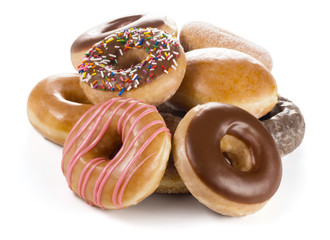 Pile of Assorted Flavors of Donuts (Doughnuts) on White Background