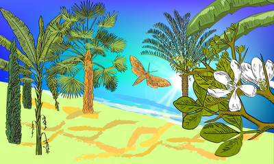 Hand drawn sea scape background with tropical palms, cycas, banana and fan palms, cypress, citrus flowers, butterfly and sun. Tropical background.