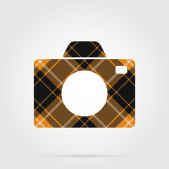 orange, black tartan isolated icon - camera