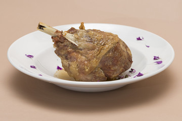Roasted turkey leg, served with white sauce, decorated with herbs, placed on white plate, light background, isolated