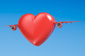 Red heart with airplane wings, 3D rendering
