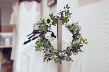 Couronne de fleurs décoration intérieur