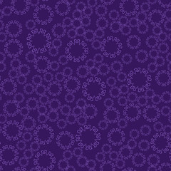 Seamless violet flower mandala for print on textile, fabric, coloring books and abstract backgrounds