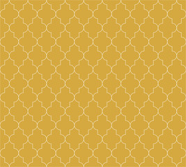 Moroccan islamic seamless pattern background in golde