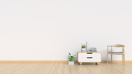 Living Room Interior with chair, plants, cabinet, on empty white wall background. 3D rendering
