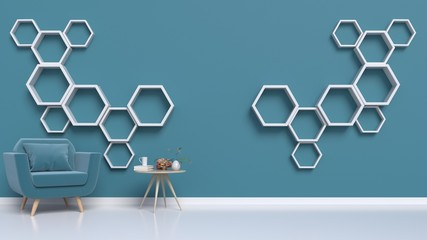 Room with armchairs and hexagonal rack mounted to the wall dark,3d rendering
