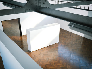 White wall in modern museum. 3d rendering