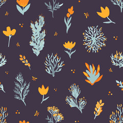 Floral vector seamless pattern. Wildflowers and plants on dark background. The elegant template for fashion prints.