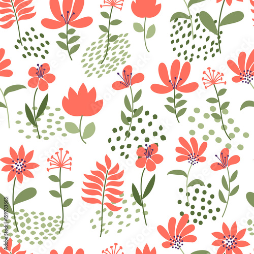 simple flower pattern seamless cute floral and dots background