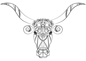 Decorative Indian bull head. Talisman, an animal tattoo. Bull with big horns. Printing on clothes, fabrics. Design element, emblem, poster, tattoo. Vector illustration.