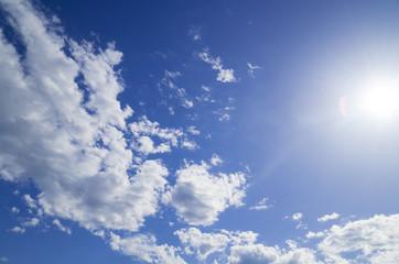 背景素材 太陽と青空と雲
