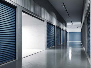 Storage facilities with blue doors. Opened door. .. 3d rendering
