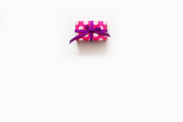 Colored gift boxes with colorful ribbons. white background. Gifts for St. Valentine's Day or a birthday.