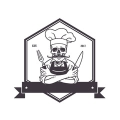 Dead Skull Chef Grinning with Fork, Knive, and Hat. Restaurant Logo Template. Hexagon Vector Drawing