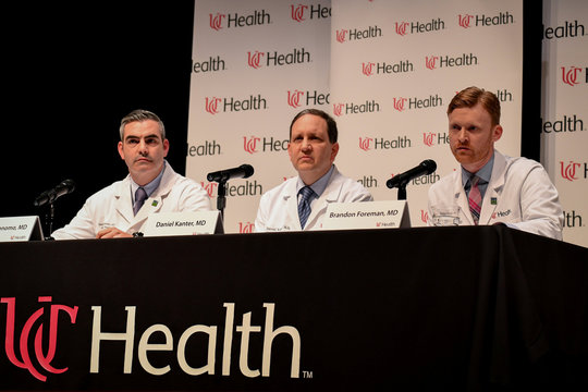 Dr. Jordan Bonomo, a Neurointensivist, Dr. Daniel Kanter, Medical Director of the Neuroscience Intensive Care Unit, and Dr. Brandon Forman, a Neurointensive Care Specialist, field questions about the condition and treatment of Otto Warmbier in Cincinnati
