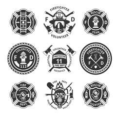 Vintage Monochrome Firefighting Labels Set