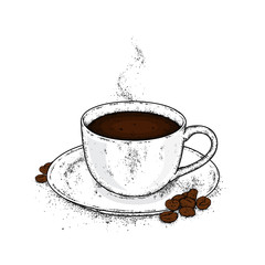 Beautiful cup and saucer. Coffee in a cup and coffee beans. Vector illustration.