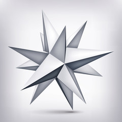 Volume polyhedron gray star, 3d object, geometry shape, mesh version, abstract vector element