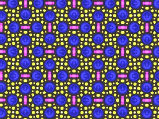 A hand drawing pattern made of blue, yellow and pink on a black background.