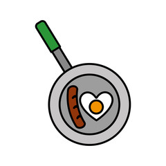 pan with egg and sausage icon over white background vector illustration