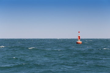 Signal buoy in the sea.