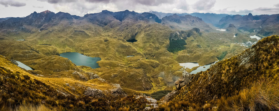 Panoramatic view of Cajas National Park, Ecuador