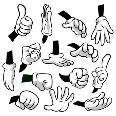 Cartoon hands with gloves icon set isolated on white background. Vector clipart - parts of body, arms in white gloves. Hand gesture collection. Design templates in EPS8.