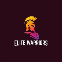 Modern Sparta warrior helmet Logo vector illustration