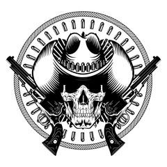 82f21c10857 Design Gunfighter. Skull in cowboy hat