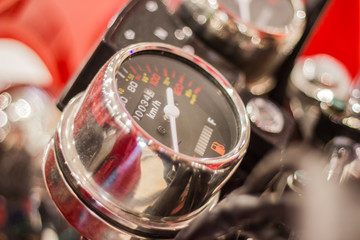 Speedometer and gasoline or fuel gauge meter in a motorcycle