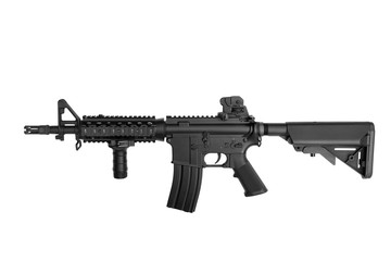 US Army weapon M4A1 carbine isolated on white background, Special forces rifle M4 with hand grip.