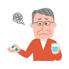vector illustration of an elder man who don't want to take medicines