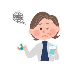 vector illustration of an elder woman who don't want to take medicines