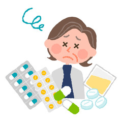 vector illustration of an elder woman who are tired of many medicines
