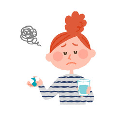 vector illustration of a woman who don't want to take medicines