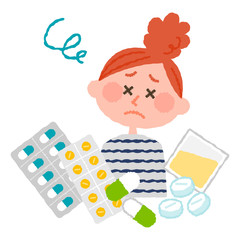 vector illustration of a woman who are tired of many medicines