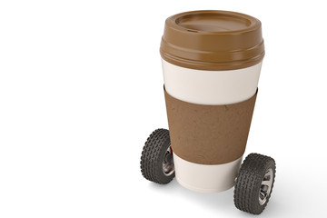 Take out coffee in thermo cup on car wheels 3d illustration.