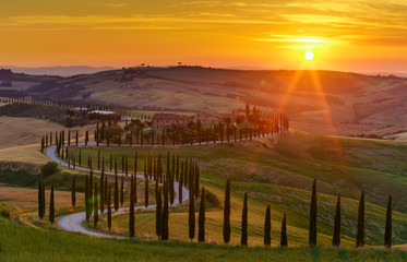 Sunset over the green fields, cypresses trees and winding road in Tuscany, Italy