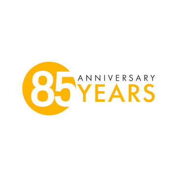 85 years old round logo. Anniversary year of 85 th vector numbers. Greetings, ribbon, celebrates. Celebrating 8th place, key shape idea. Colored traditional digital logotype of ages or % off.