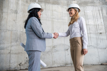 Side view of two businesswomen with blueprint shaking hands and smiling each other