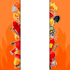 Background with firefighting sticker items. Fire protection equipment