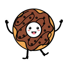 delicious sweet donut kawaii character vector illustration design