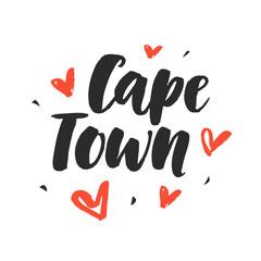 Cape Town. Modern city hand written brush lettering