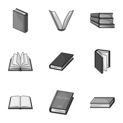 A set of pictures with books. Books, notebooks, studies. Books icon in set collection on monochrome style vector symbol stock illustration.